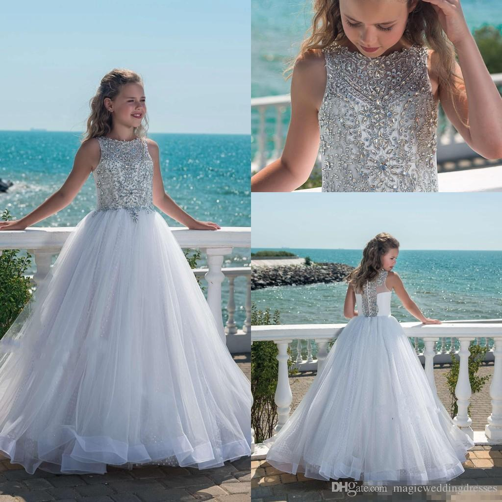 2018 Sparkly Beaded Crystal Girls Pageant Dresses For Teens Tulle ...