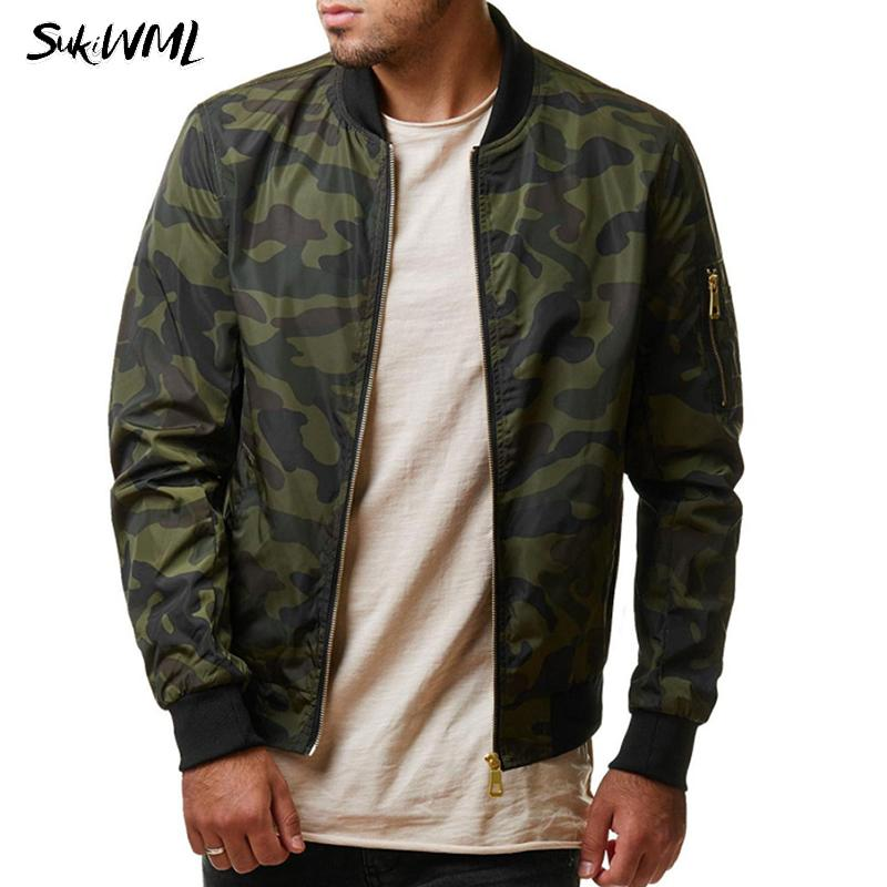 9f19175d34745 SUKIWML Men Jackets 2018 New Brand Autumn Mens Bomber Jackets Camouflage  Stand Collar Zipper Long Sleeve Jacket Men Outerwear Baseball Jackets  Leather Coat ...