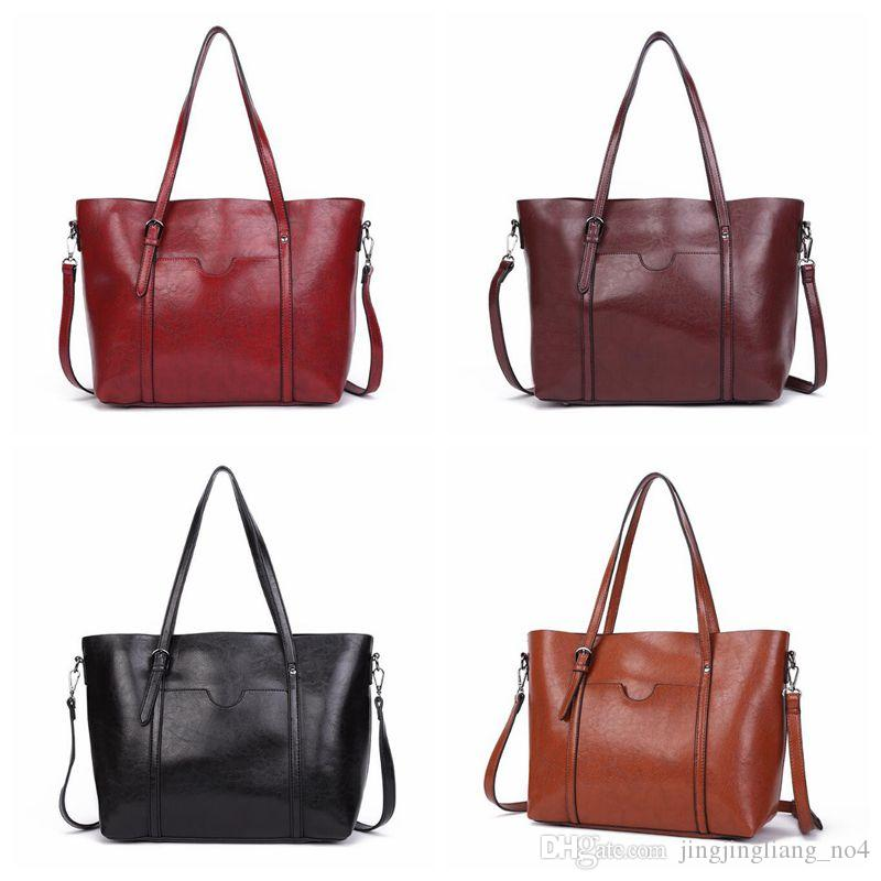 a1eefece3c52 Women Casual Totes Wax Oil Leather Handbag Bag Fashion Vintage Large  Shopping Bag Designer Crossbody Bags CCA8840 Overnight Bags Black Bags From  ...