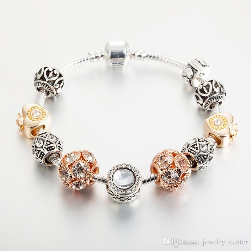 ee02abfe69265 18K Rose Gold Plated Heart Charms European Beads Bracelet for Pandora 925  Silver Snake Chain Bracelets for Women wholesale