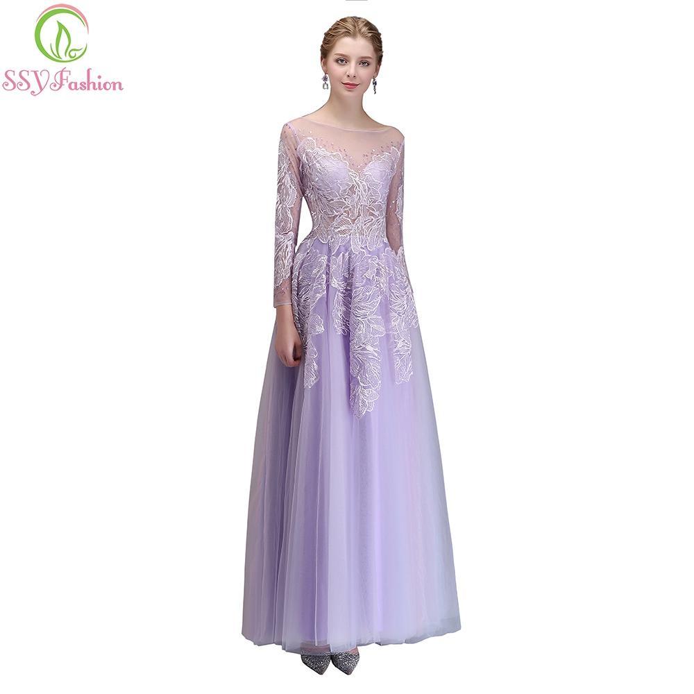 Ssyfashion New Banquet Elegant Evening Dress Beautiful Purple Long ...