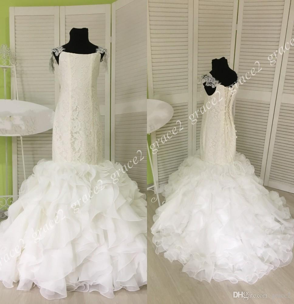 3625f042b20 Mermaid Trumpet Flower Girls Dresses 2018 Lace Up Back   Ruffles Skirt Real  Pictures Kids Wedding Dress Full Length First Communion Gowns Flower Girl  ...