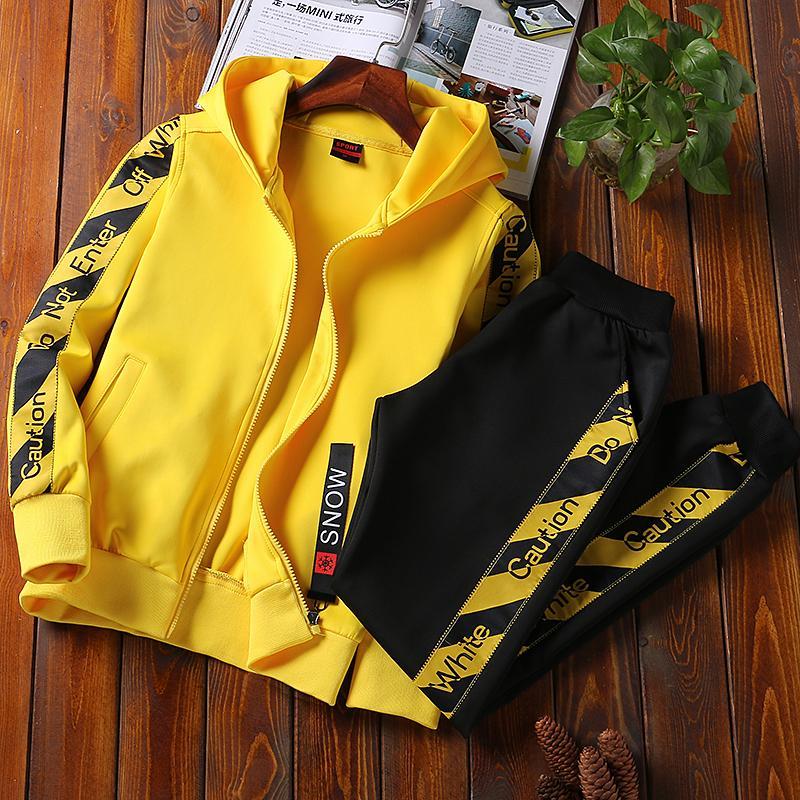 76840c7fc Chándal Hombres Conjunto de traje deportivo Moda Sudadera con capucha  Pantalones Ropa deportiva Conjunto de dos piezas Busos para hombre