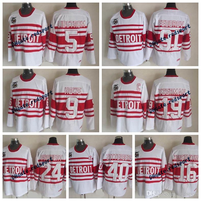 5728328be 2019 Mens Detroit Red Wings 75th Anniversary 5 Lidstrom 9 Gordie Howe 19  Yzerman 91 Fedorov 16 Konstantinov 40 Zetterberg Hockey Jersey From  Redsport