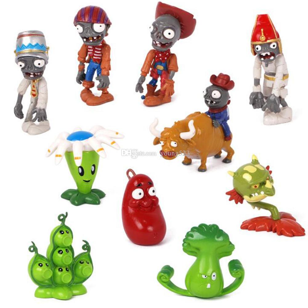 Mini PVZ Plants vs Zombies 2 Action Figures Toy doll cartoon solid PVC hands do doll car decoration drop children's holiday gifts 3~8cm