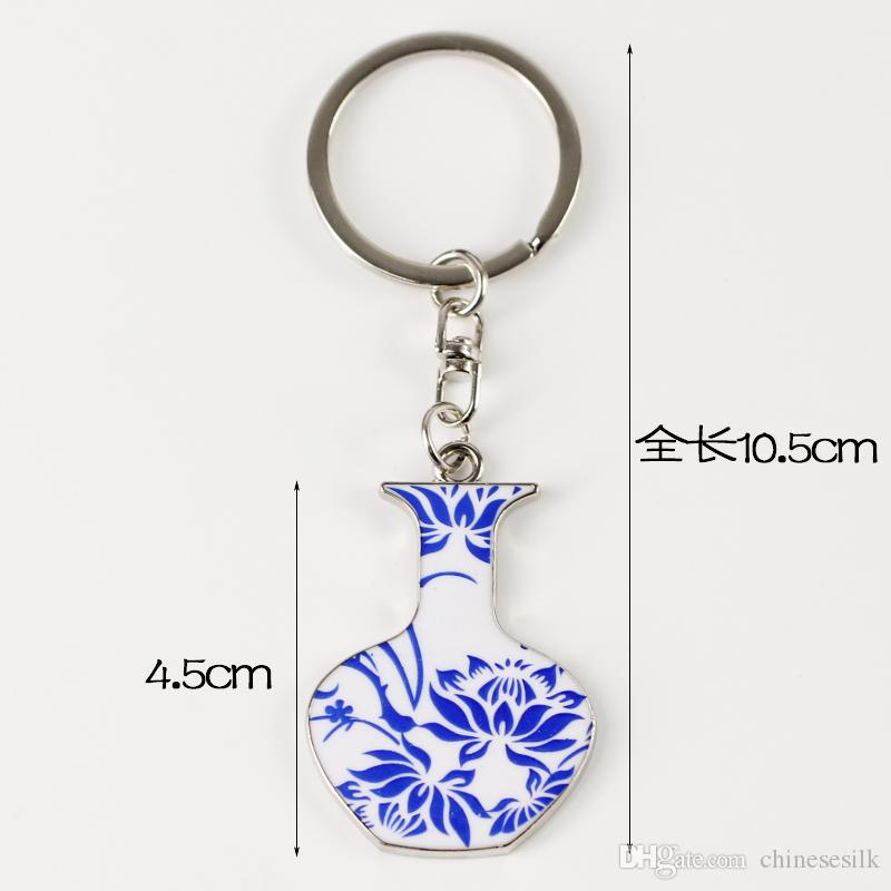 Blue and white porcelain Personalized Keychain Gift Vintage Keyring Chinese Metal Zinc Alloy Accessory Key Pendant Charms