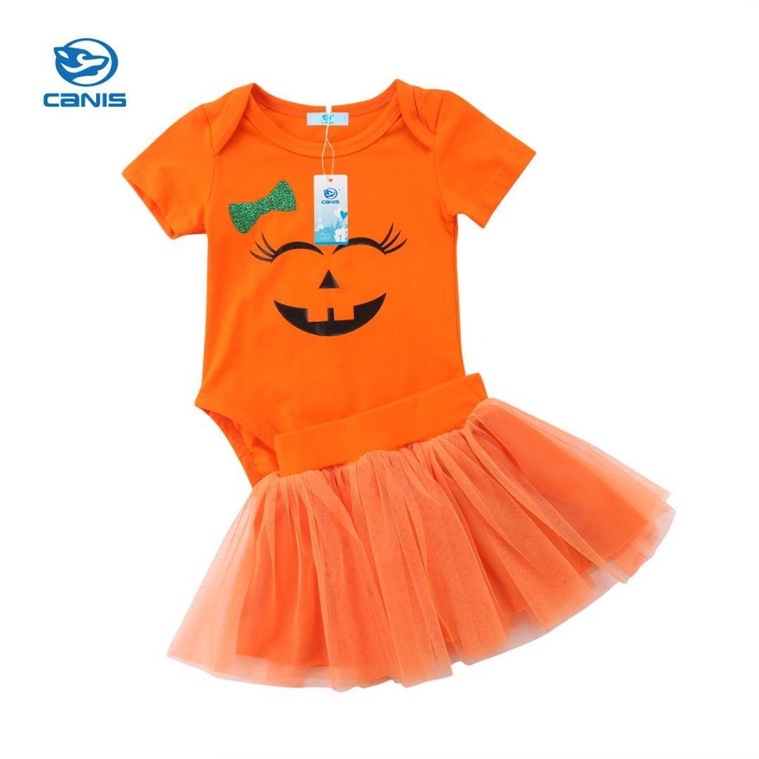 29a89d819d 2019 Funny Halloween Newborn Baby Girl Smiley Face Orange Pumpkin Romper  Top Tulle Skirt Outfit Clothes Set 0 24M From Cover3085, $37.08 | DHgate.Com