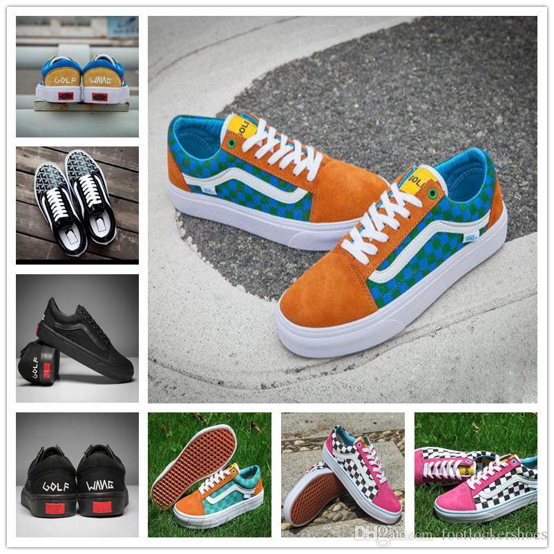 Acheter 2018 New Style Golf Chaussures Old Skool Pro Old Skool Designer  Zapatillas De Sport Femmes Hommes Noir Vert Casual Toile Baskets De Sport  De  79.76 ... 633367bd16f