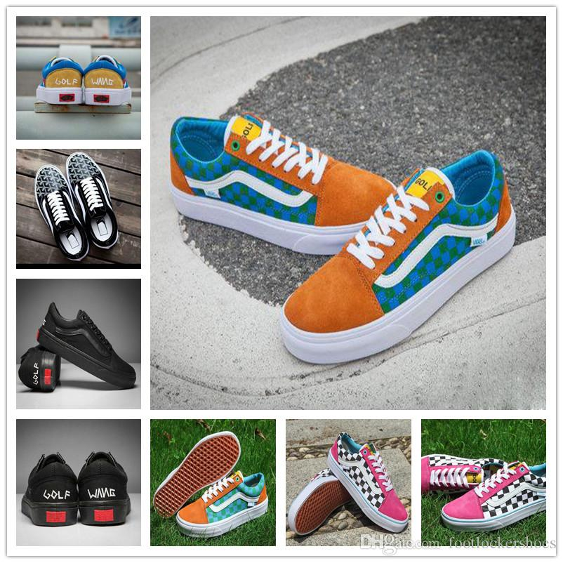 a067ddfb2a4f55 2019 2018 New Style Golf Wang Old Skool Pro Old Skool Designer Shoes  Zapatillas De Deporte Women Men Black Green Casual Canvas Sports Sneakers  From ...