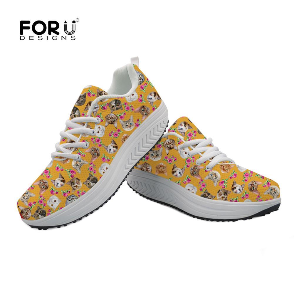 Vente gros Sneakers Imprimé Plateforme Chaussures Head Cat en Femmes Floral 4T7Rw