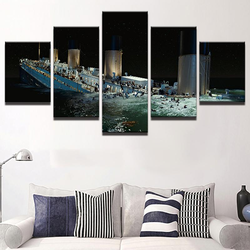 Canvas Painting Wall Artwork Abstract Decorative 5 Panel Titanic ...
