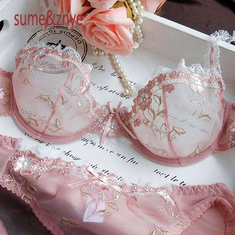 39c4db865 Robia Moda Intima Marca Francesa Lingerie Feminina Conjunto Sutiã Lingerie  Sutiã Sexy Bordado Ultra Fino Rosa Transparente Sutiã De Renda Para As  Mulheres E ...