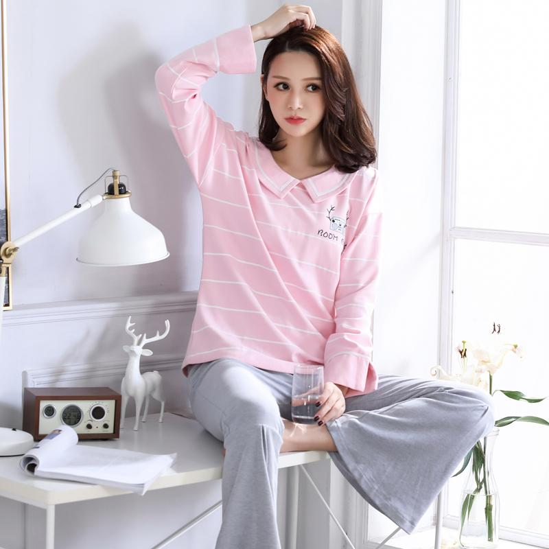 ddbe95959f New Autumn 100%Cotton Long Sleeve Women Pajamas Set Turn-down Collar ...