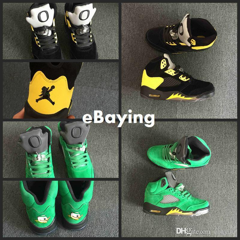 best loved f0e1b 54164 inexpensive nike air jordan with a duck 4c4b2 f680a  france 2018 high  quality new 5 5s oregon ducks jumpducks mens basketball shoes green black  yellow