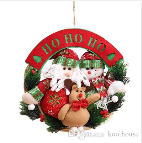 New Christmas Ornaments Wooden Christmas Wreath Ring Pendant Christmas Decorations For Home Personalize Gifts Natal