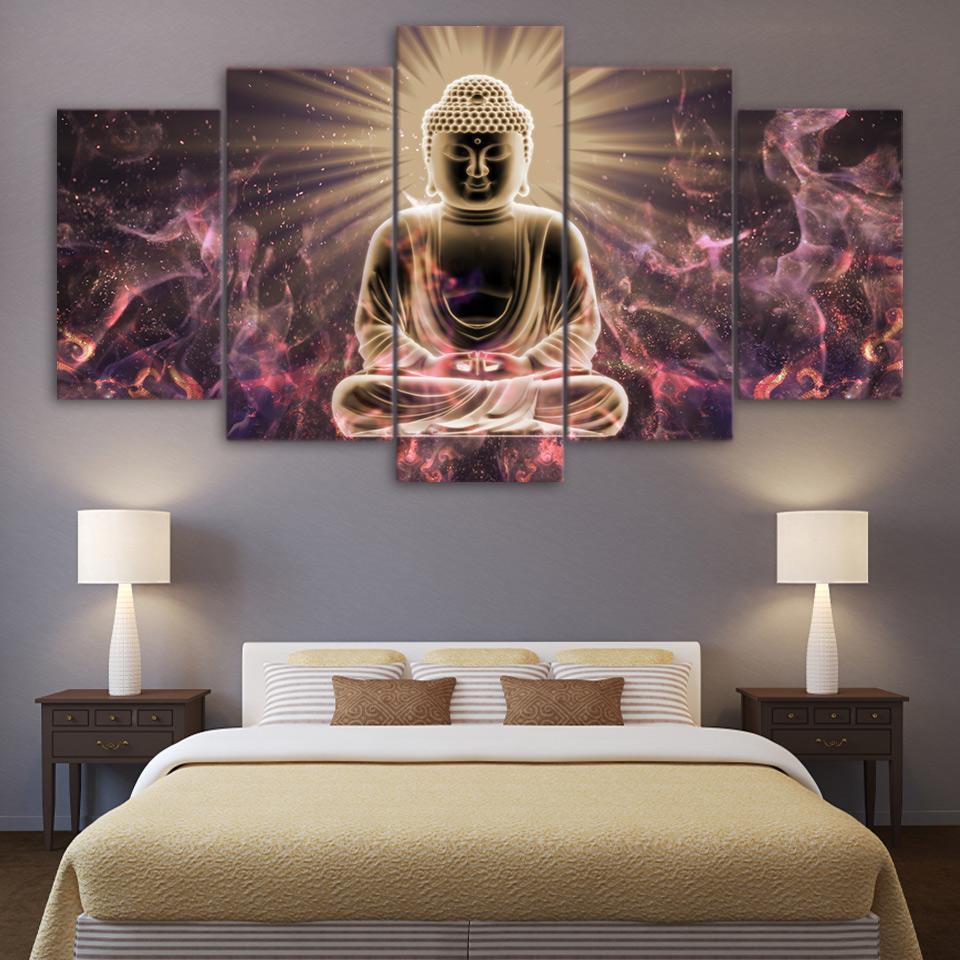Compre Enmarcado 5 Unids Hd Imprimir Buda Abstracto Budismo ...