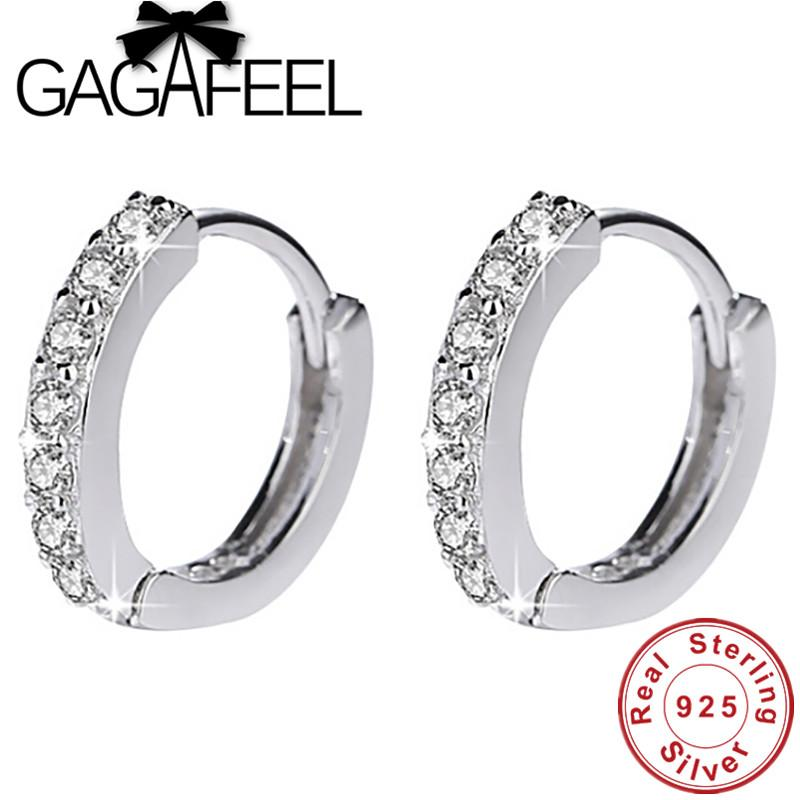 GAGAFEEL 13mm 925 Sterling Silver Apilable Hoop Earrings para Mujeres Completo CZ Zircon Jewelry Accessories High Quality