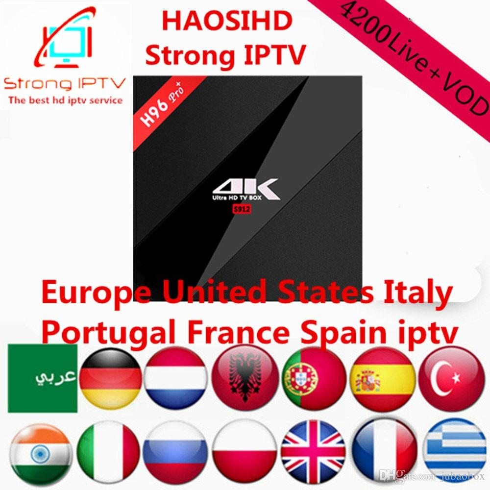 smart android box H96Pro 3G32G Amlogic S912 with iptv subscription 1 year  4200 channels,Arabic,Europe,USA iptv with Movie, news and vod