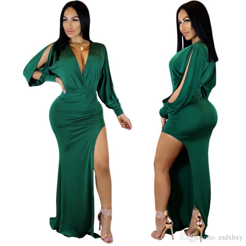 Maxi Dress Summer Robes Femme 2018 Women Fashion Abiti sexy Donna Beach Dress Hippie Boho Club Factory Split manica lunga Party Dress donna