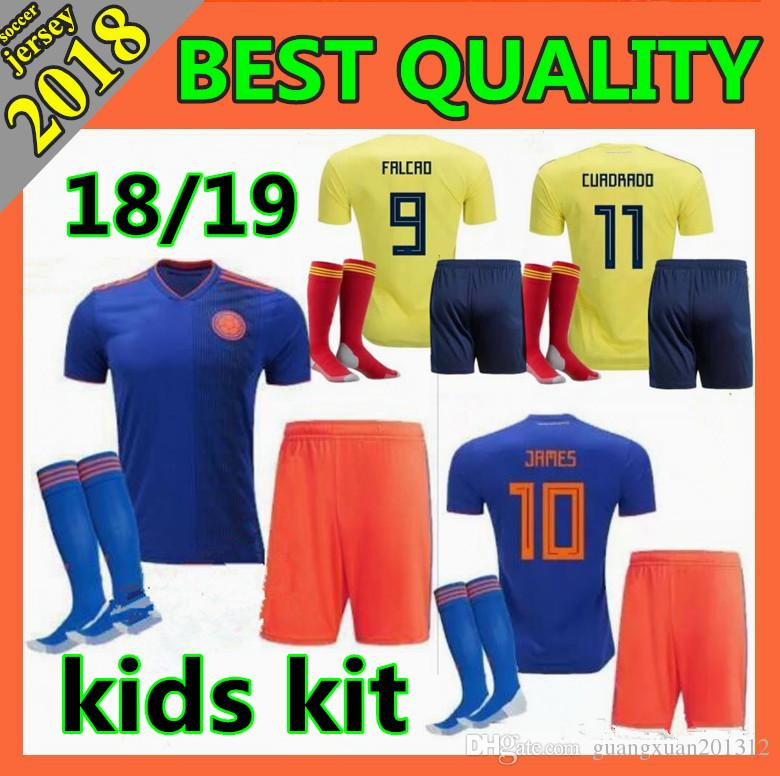 Best Kids Kit 2018 World Cup Colombia Home Yellow Soccer Jersey 18 19 Away  Blue FALCAO JAMES CUADRADO TEO BACCA Youth Football Shirts Under  16.11  7baf09278