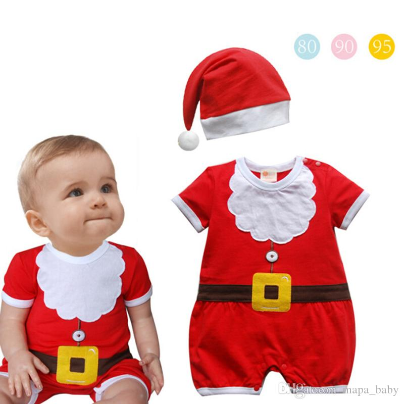 e8fc9e7bd 2019 Santa Claus Rompers Baby Kids Christmas Romper Modelling Short Sleeve Baby  Romper With Hat Toddler Jumpsuits Infant Bodysuit From Mapa_baby, ...