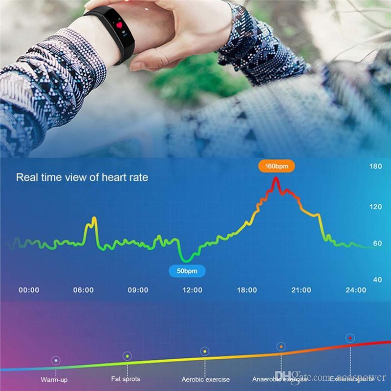 스마트 시계 LCD 화면 ID115 플러스 스마트 팔찌 피트니스 시계 밴드 심박수 혈압 모니터 스마트 팔찌