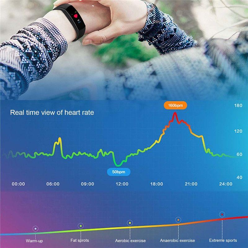 Smart Watch LCD tela ID115 mais pulseira inteligente relógios de fitness banda taxa de pressão hídrica monitor de pressão arterial