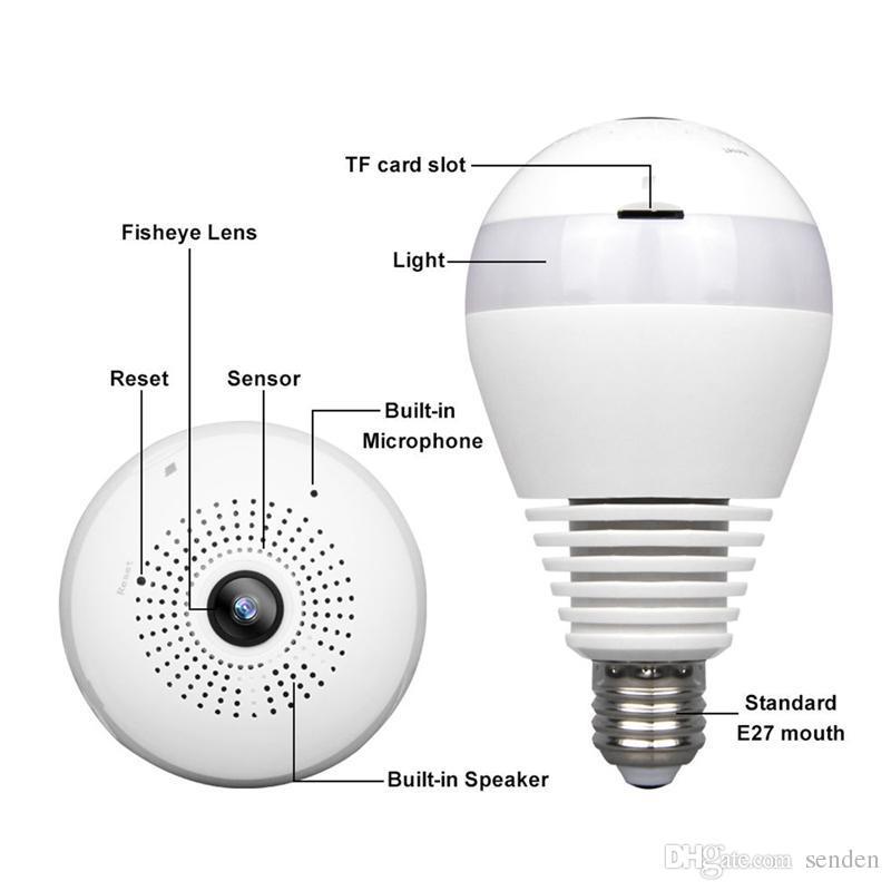 Vigilancia panorámica de la seguridad en el hogar del CCTV de la bombilla 1080P HD Wifi de la cámara LED del ojo de pescados de 360 grados