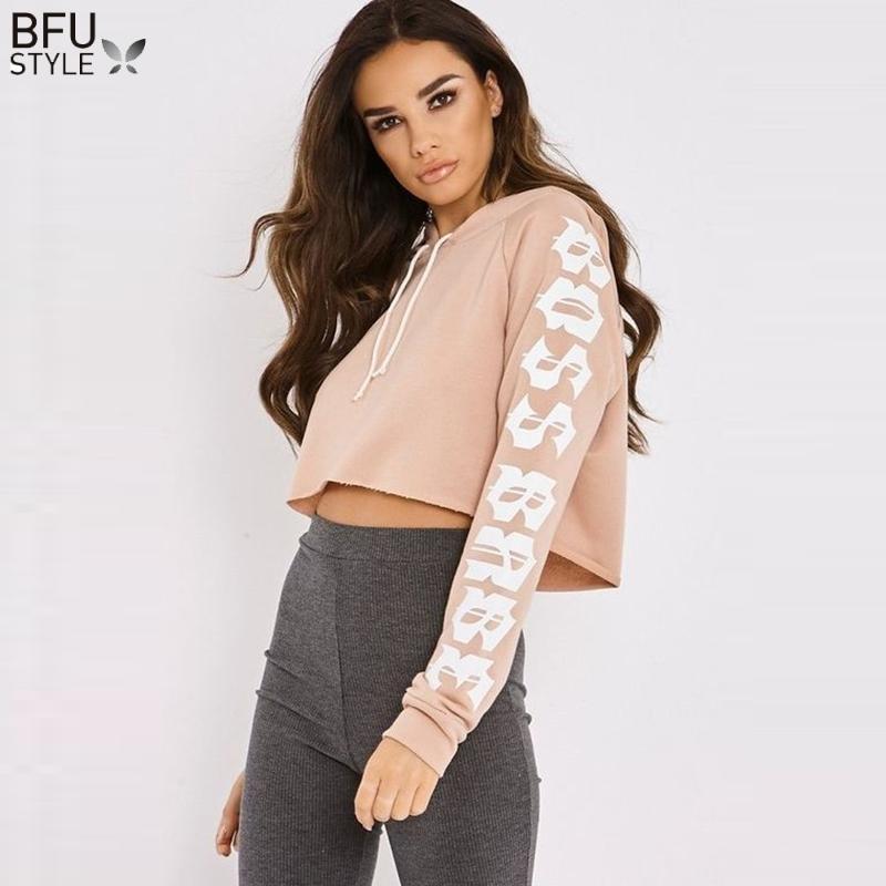 f788ddcccc15 2019 Cropped Hoodie Sweatshirt Women 2018 Autumn Winter Cute Solid Crop  Hoodies Long Sleeve Jumper Hooded Pullover Coat Casual Top From Vanilla01