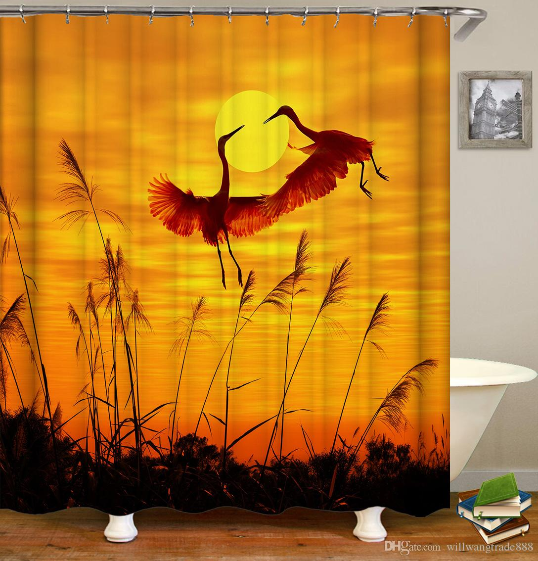 165*180cm 180*180cm Waterproof Cool Parrots Cocks Birds Cranes Pattern Designed Digital Printing Bathroom Shower Window Curtain with Hooks