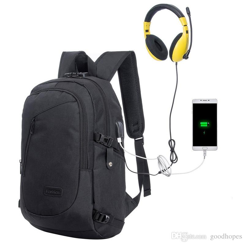 3ef76d0f6a 2019 Anti Theft Business Laptop Backpack Water Resistant Computer Bag With  USB Charging Port Lightweight College Travel Backpacks Fit 15.6 Laptop From  ...