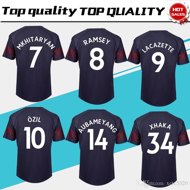 wholesale dealer 47716 dd0a1 #10 OZIL away Soccer Jersey 18/19 MKHIARYAN short sleeve soccer shirt  2018/2019 OZIL AUBAMEYANG away Football uniforms sales size S-4XL
