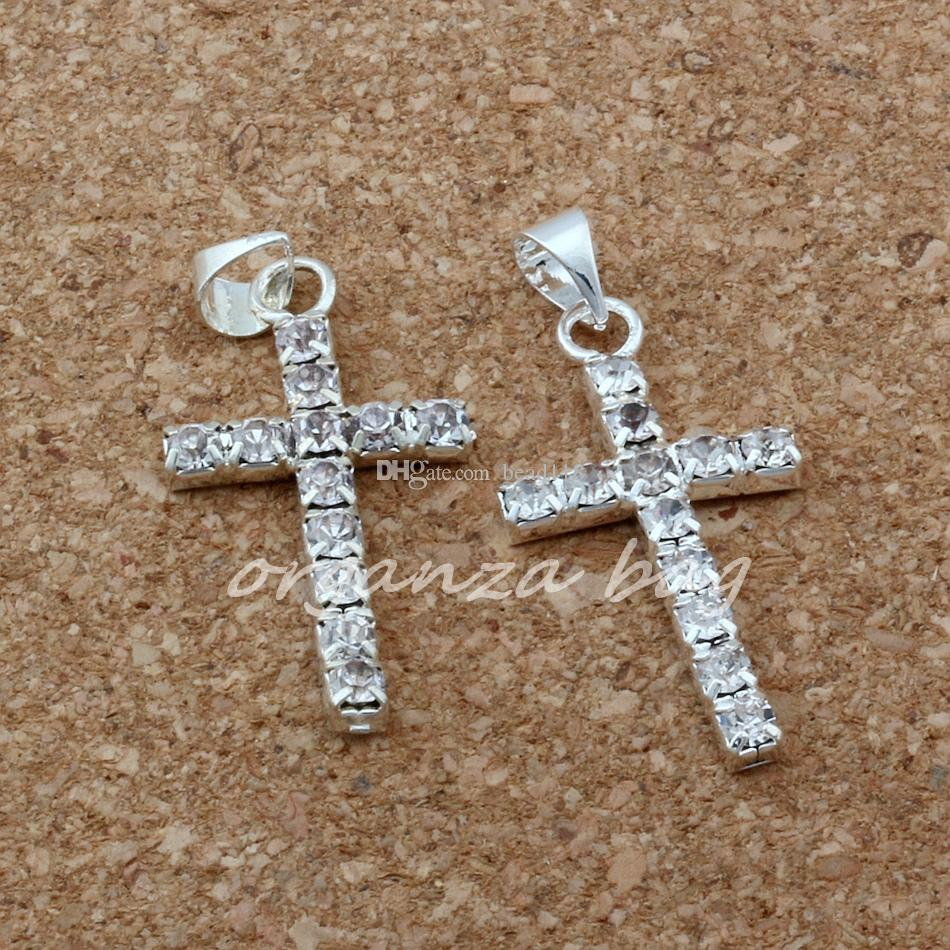 MIC / 1 30x15mm clear Rhinestone Cross Charm pendants DIY Jewelry