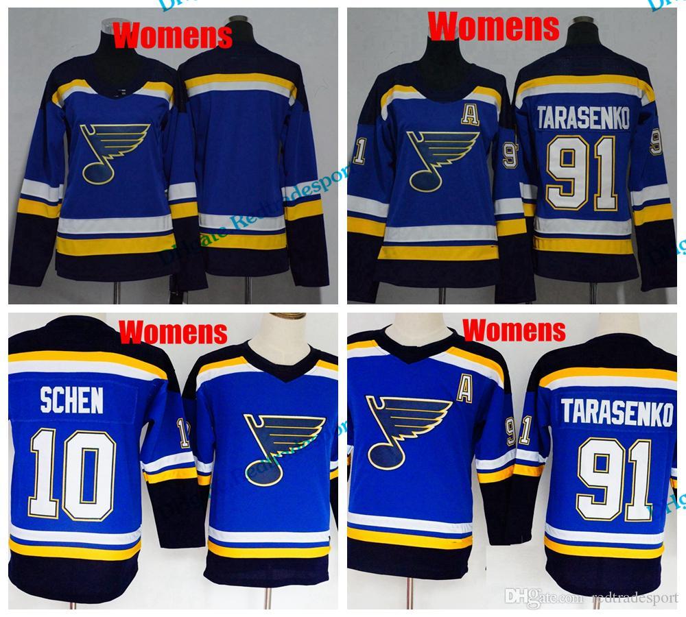 lowest price 03b07 23c75 2018 Womens St. Louis Blues Ladies Hockey Jerseys 91 Vladimir Tarasenko 10  Brayden Schenn Girls Stitched Jerseys A Patch