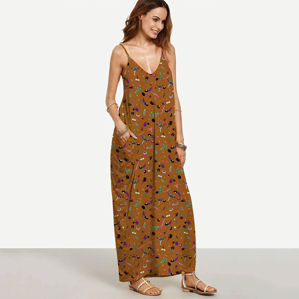a5c5910f3c Elegant Long Maxi Dress Summer 2018 Women Boho Deep V Neck Sleeveless Loose  Dresses Beach Wear Sundress Vestido Red And Black Party Dress Cocktail Dress  ...