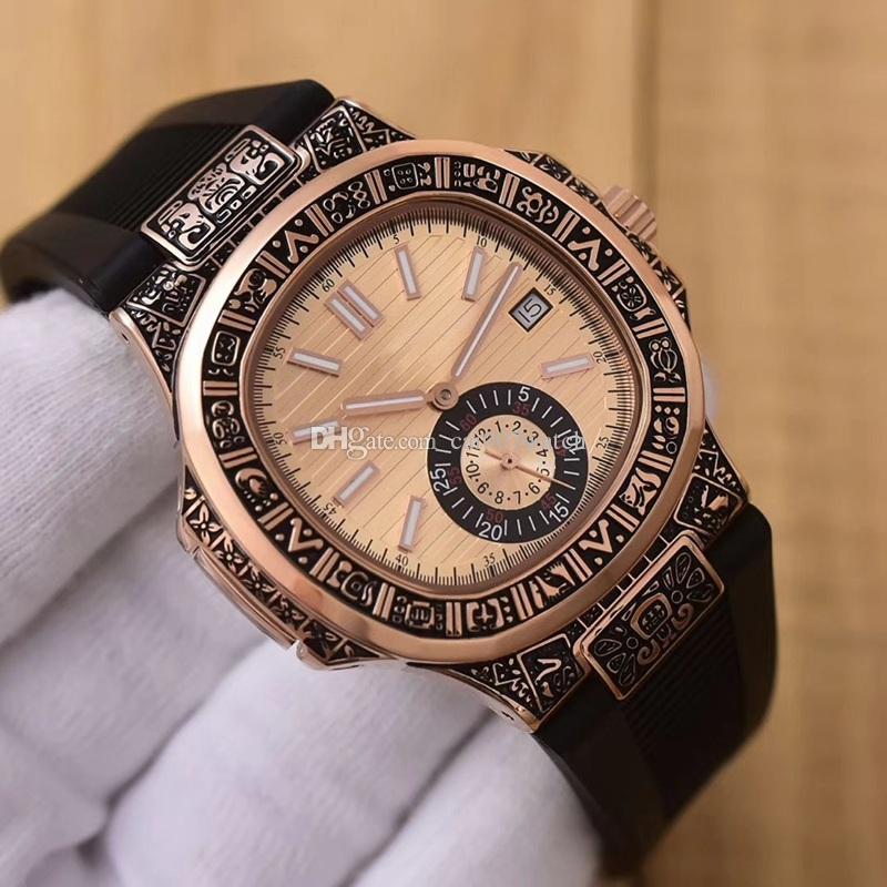 5e0711b1ac4 Compre Relógio Clássico De Moda Masculina. Movimento Mecânico Automático  Importado. Caixa Esculpida Em Ouro Rosa 316 Em Aço Inoxidável.