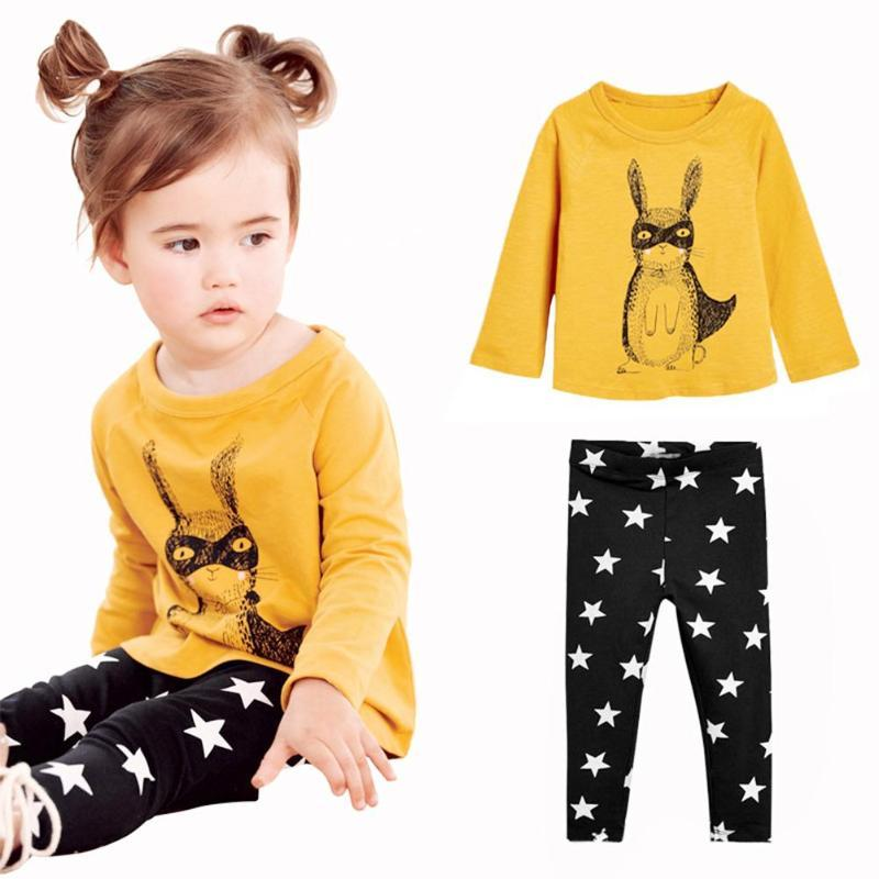 59ff6d314714 Girls Cute Clothing Set Newborn Baby Cotton Casual Rabbit Star Print ...