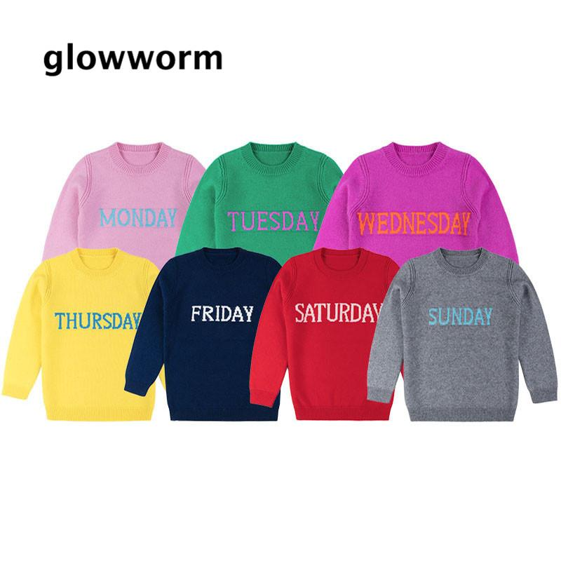 0d090ef3f27b GlowwormKids Sweater Kids Rainbow Week Children Sweater Monday ...