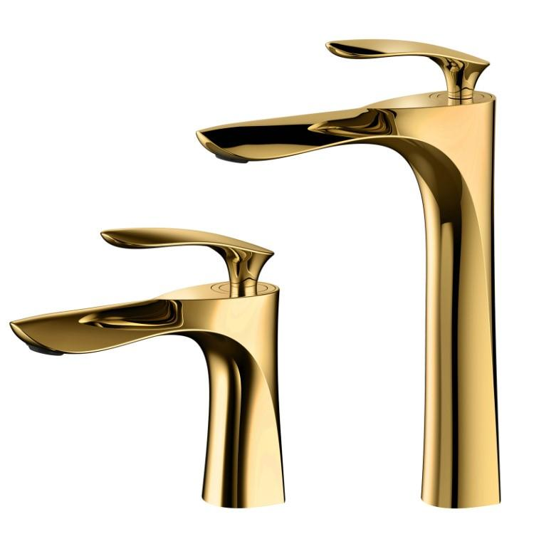 2019 Luxury Gold High Low Brass Bathroom Faucet Unique Design Single Handle  Golden Vessel Sink Basin Mixer Faucet From Kyouny, $188.83 | DHgate.Com