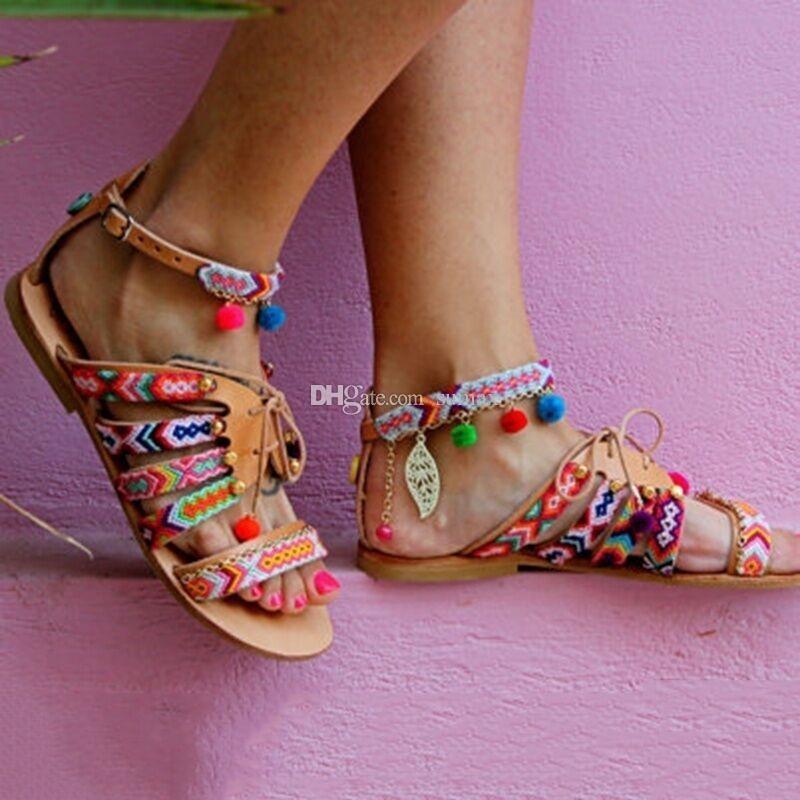1bf3cc0a53 Summer new women's sandals beach holiday wind sandals bohemian wind hanging  ball flat sandals Size:EUR34-43