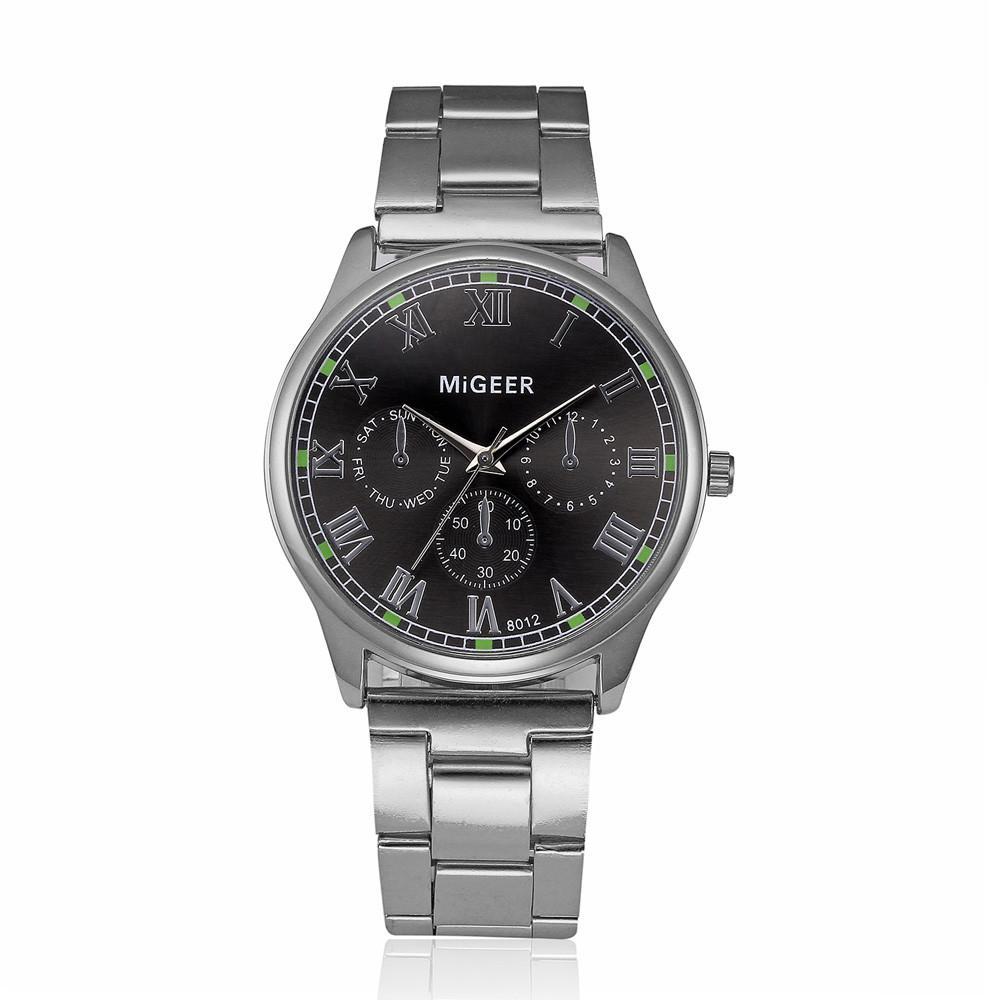 Acier Migeer Mode Bracelet Homme Analogique Quartz Inoxydable Montre Montres8012 Hommes Alliage A70 Cristal En nOXNk80wP