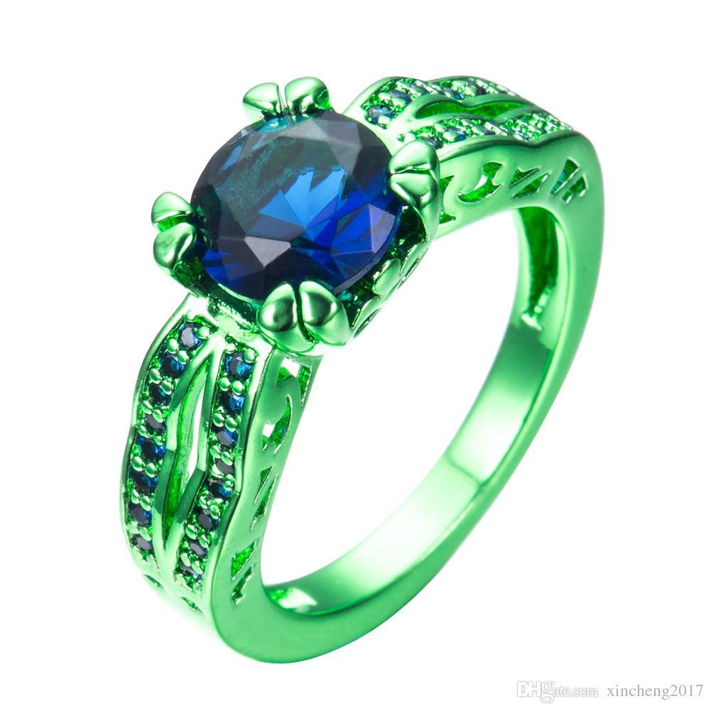 Großhandel Männlich Weiblich Blau Runde Ring Grün Gold Gefüllt ...