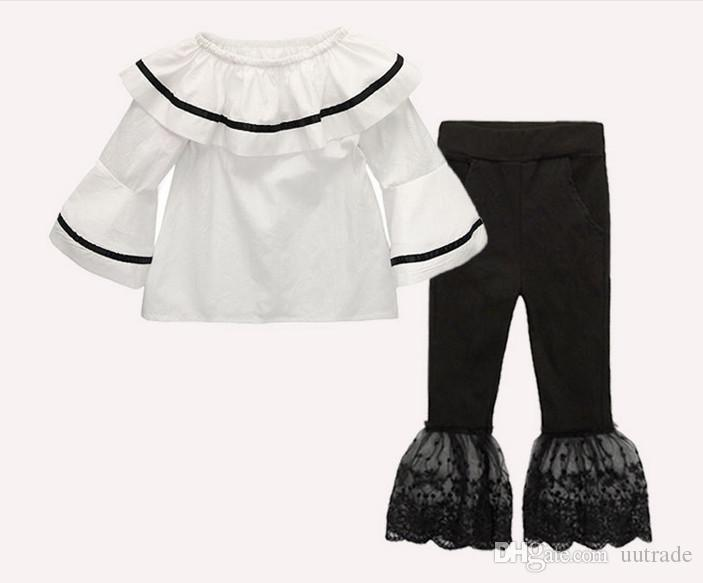 baby girls summer fashion suits girls Off-shoulder Lotus leaf tops T shirts+girls pants suit set kids clothes Clothing Sets