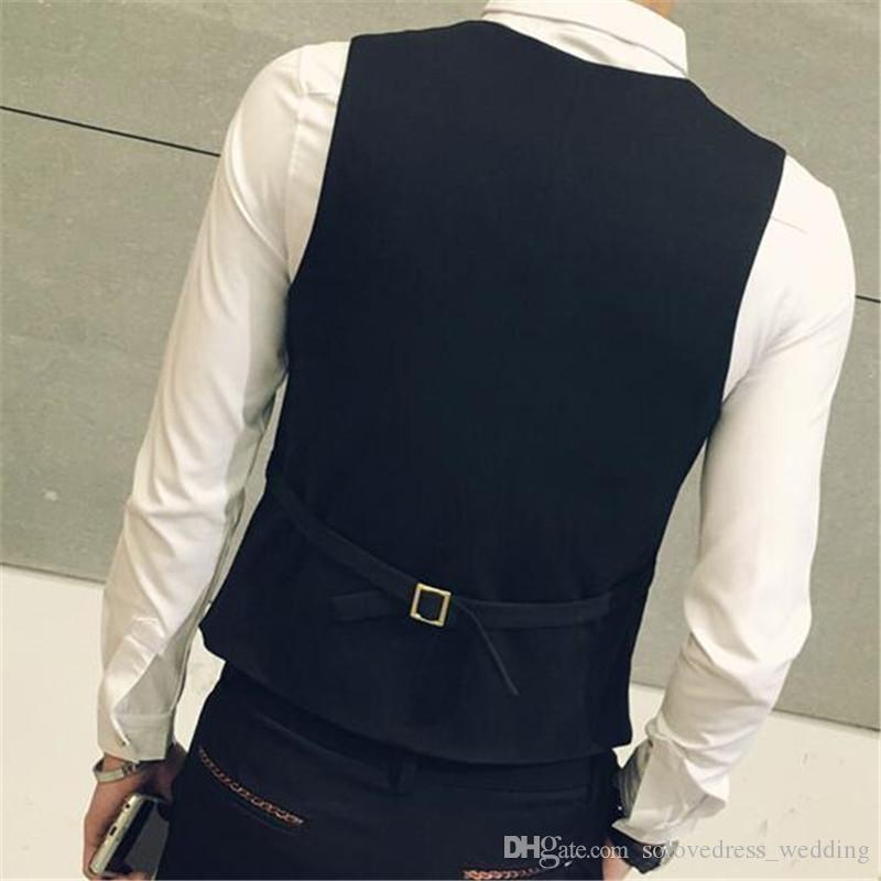 New Waistcoat Suit Vest Fashion Double Breasted Slim Fit Menle Dress Vest for Formal Wedding Gown