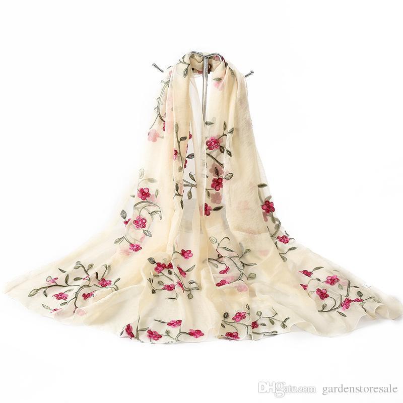 5ae4c186b Hot 2018 New Brand Women Scarf Spring Summer Silk Scarves Shawls And Wraps  Lady Beach Stoles Hijab Foulard Scarves Shawl From Gardenstoresale, ...
