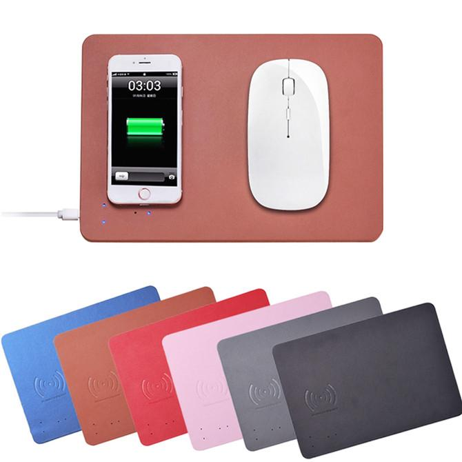 2018 QI wireless charger mouse pad fast charging approved PU leather mouse charge pad universal for iPhone Samsung Qi-enabled cell phone