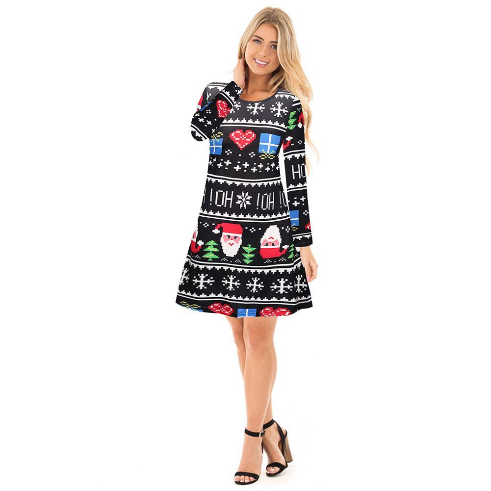 18ec29147cb Increase Christmas Women Dress Santa Claus Snowflake Mosaic Long ...