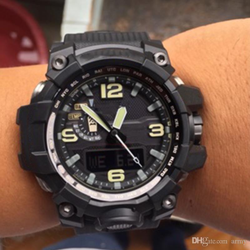 A ++ Gota transporte homens de qualidade Superior G esportes relógio digital LED e choque e relógio Esporte à prova d 'água com caixa