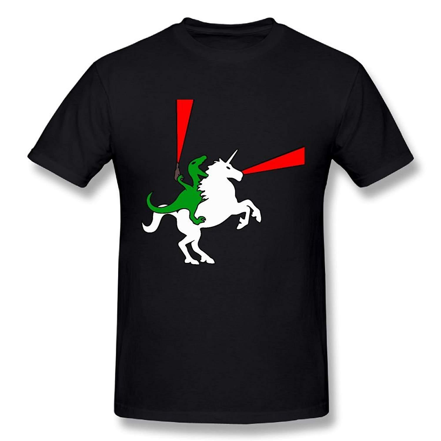 Funny Men's Dinosaur Riding Unicorn 100% Cotton Prints Casual Short Sleeve Tee Cheap Sale T Shirt For Boys