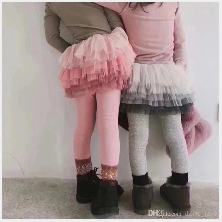 d100ee9f78f9a9 Meninas Saia Leggings Calças Outono Inverno Crianças Lace Net Collants Fios  Leggings Menina Com Saia Crianças Calças Pantskirt 5 pçs / lote